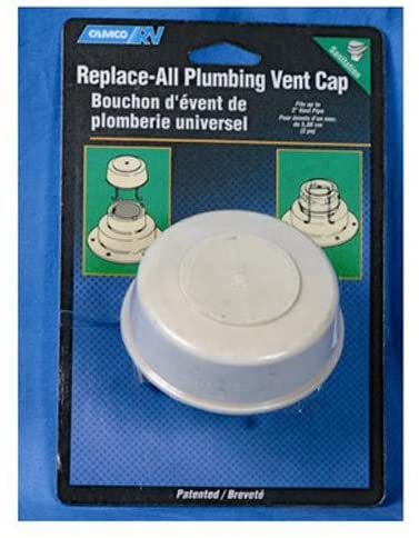 Camco Replace-All Plumbing Vent Cap with Spring Attachment – Replaces Lost or Damaged RV Plumbing Vent Caps | Fits Up to 2″ Plumbing Vent Pipe – White (40034)